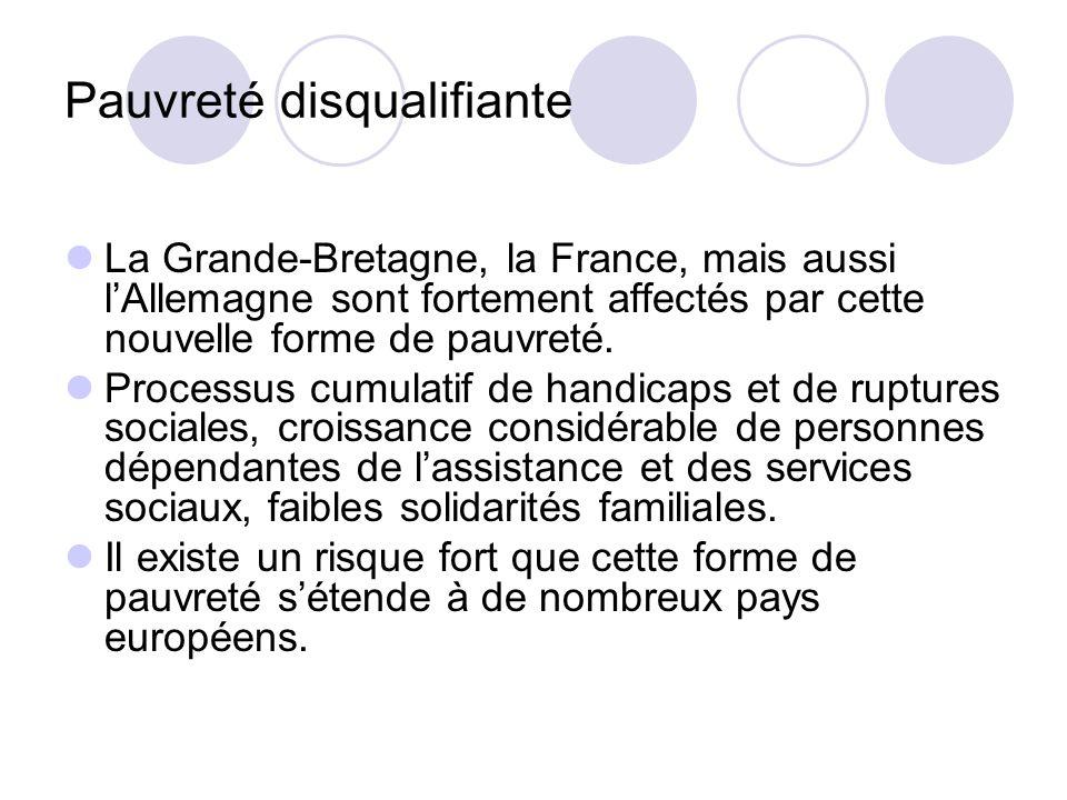 Pauvreté disqualifiante La Grande-Bretagne, la France, mais aussi lAllemagne sont fortement affectés par cette nouvelle forme de pauvreté. Processus c