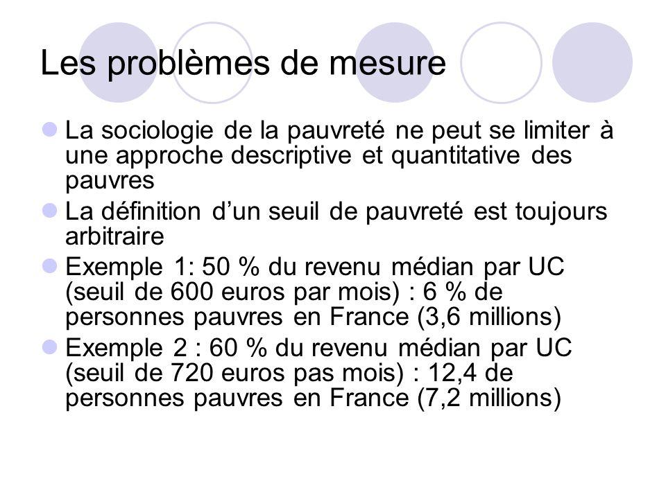Les problèmes de mesure La sociologie de la pauvreté ne peut se limiter à une approche descriptive et quantitative des pauvres La définition dun seuil