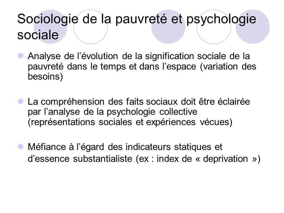 Sociologie de la pauvreté et psychologie sociale Analyse de lévolution de la signification sociale de la pauvreté dans le temps et dans lespace (varia