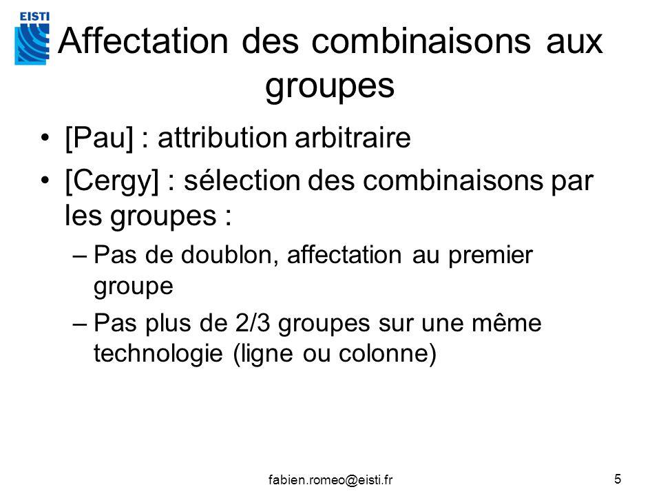 fabien.romeo@eisti.fr 5 Affectation des combinaisons aux groupes [Pau] : attribution arbitraire [Cergy] : sélection des combinaisons par les groupes :