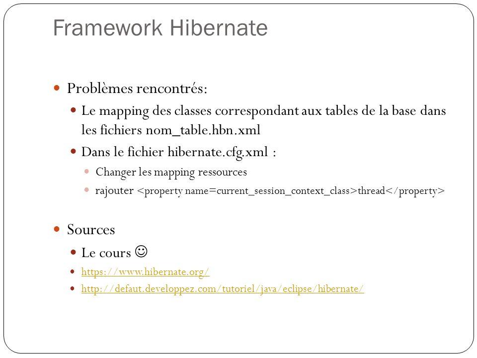 Framework Hibernate Problèmes rencontrés: Le mapping des classes correspondant aux tables de la base dans les fichiers nom_table.hbn.xml Dans le fichi