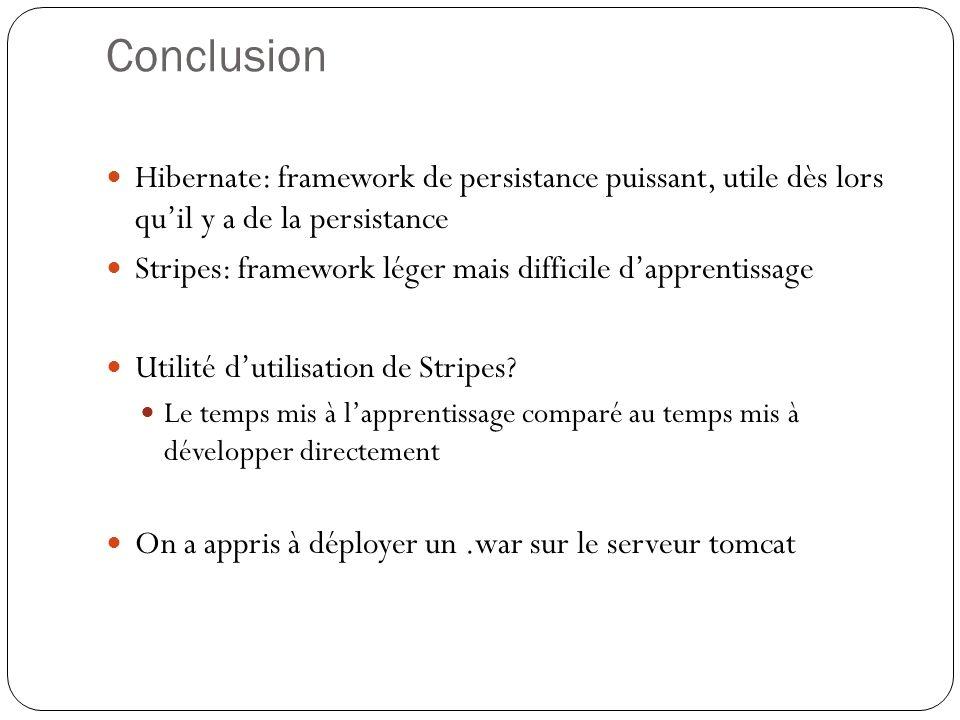 Conclusion Hibernate: framework de persistance puissant, utile dès lors quil y a de la persistance Stripes: framework léger mais difficile dapprentiss