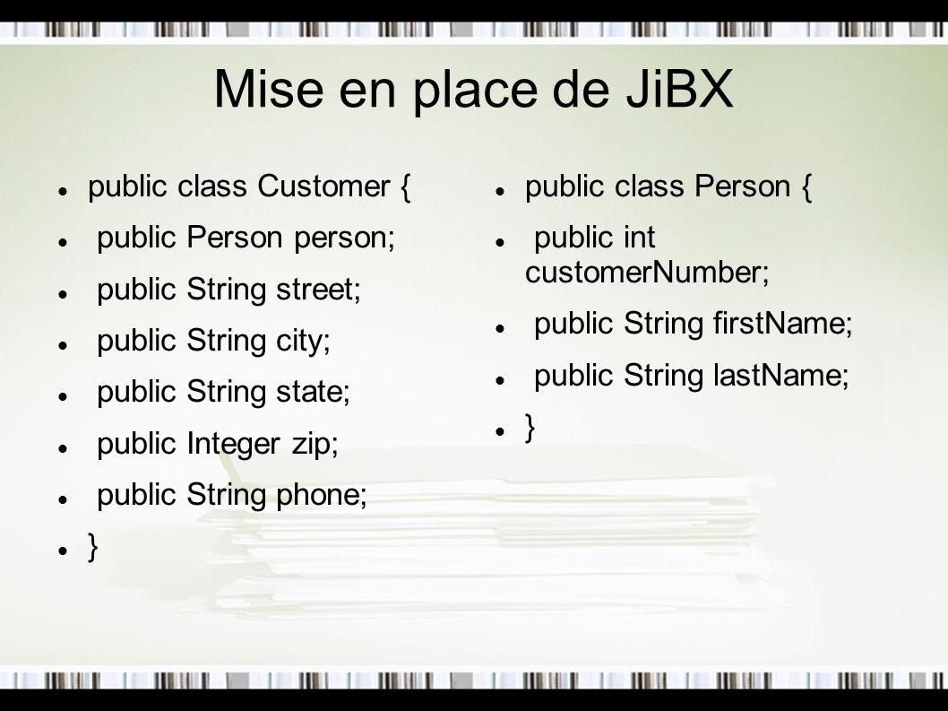 Mise en place de JiBX public class Customer { public Person person; public String street; public String city; public String state; public Integer zip;