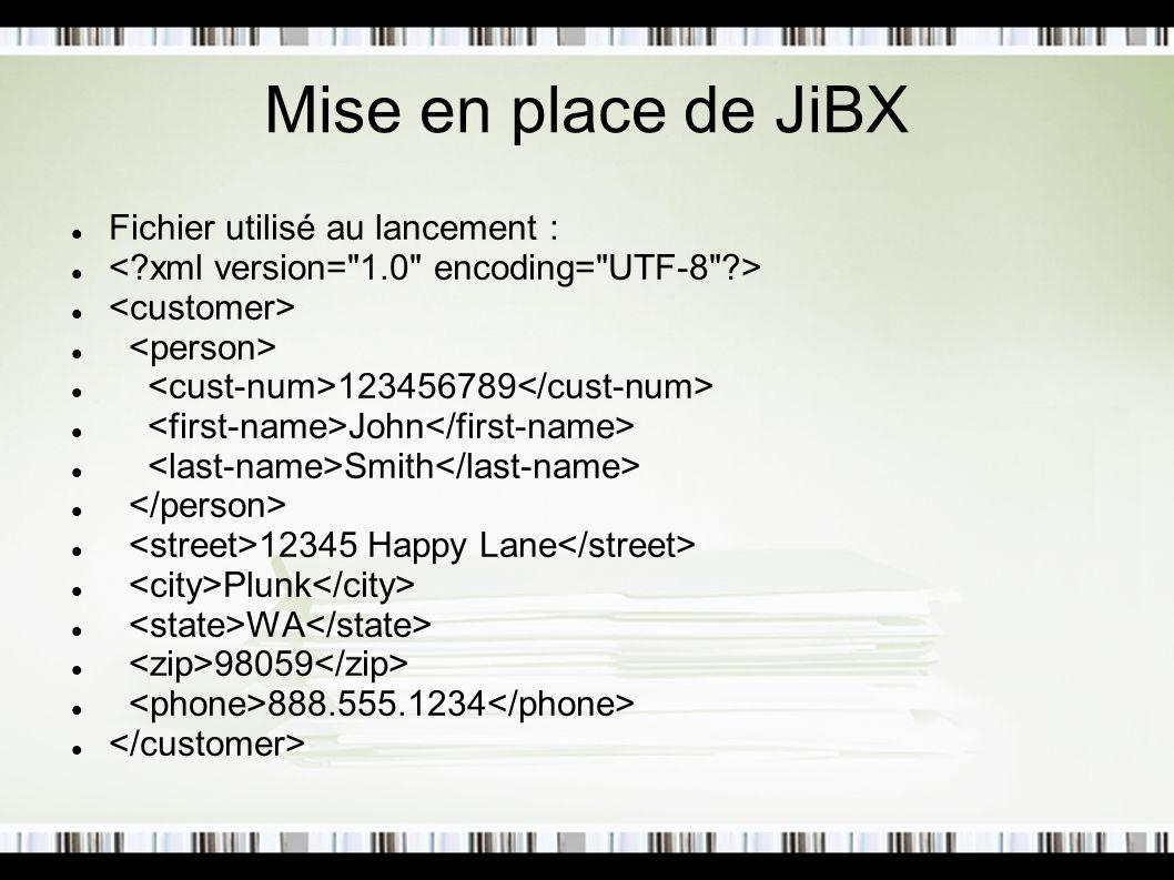 Mise en place de JiBX Fichier utilisé au lancement : 123456789 John Smith 12345 Happy Lane Plunk WA 98059 888.555.1234