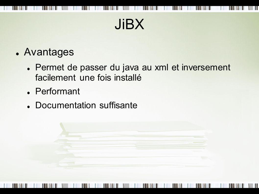 JiBX Avantages Permet de passer du java au xml et inversement facilement une fois installé Performant Documentation suffisante