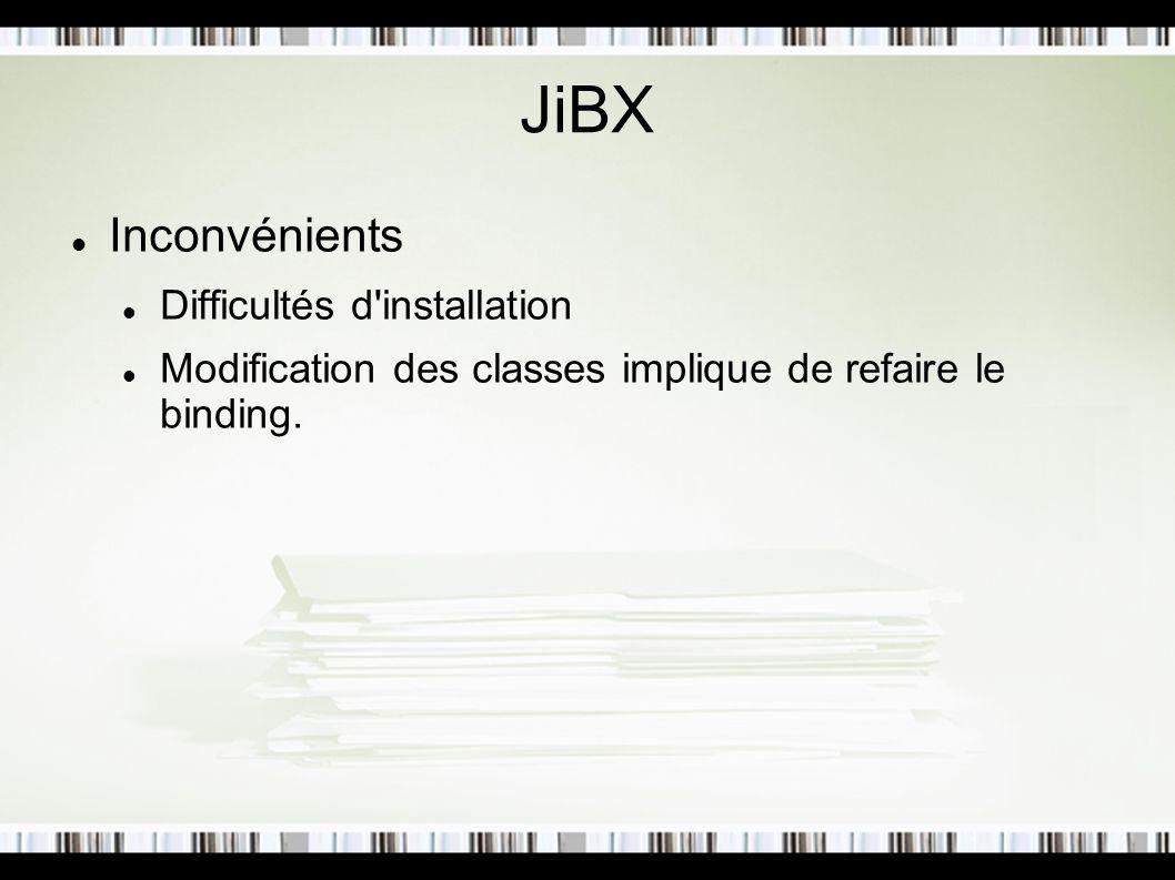 JiBX Inconvénients Difficultés d'installation Modification des classes implique de refaire le binding.