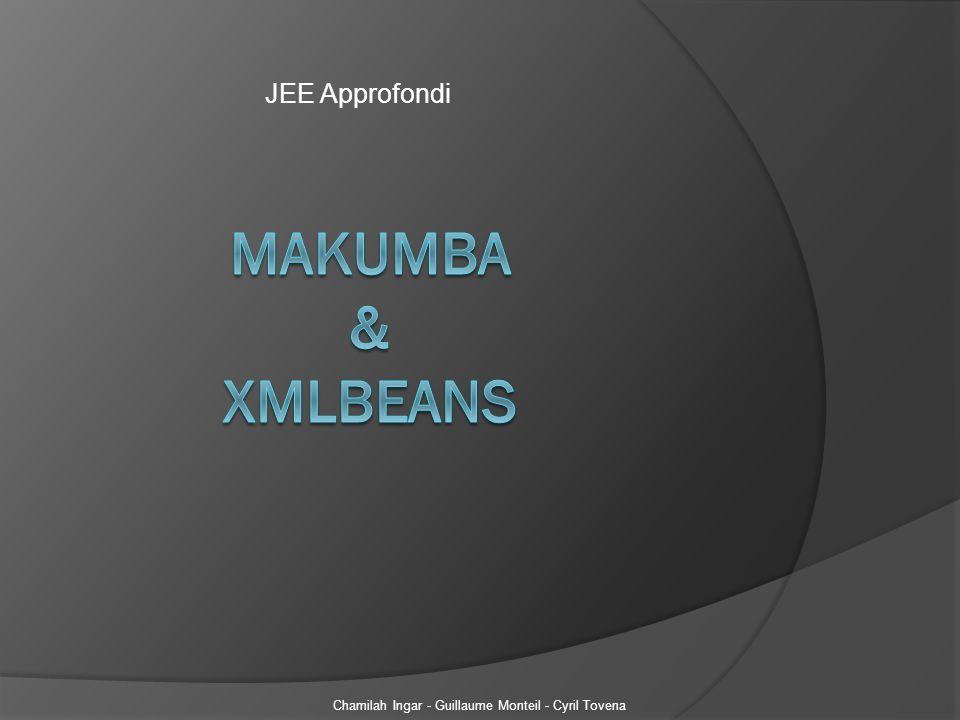 I- Makumba a) Introduction b) Installation c) Exemple d) Test II- XMLBeans a) Introduction b) Installation c) Exemple d) Test Chamilah Ingar - Guillaume Monteil - Cyril Tovena