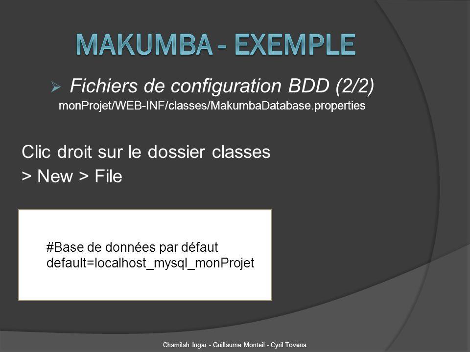 Fichiers de configuration BDD (2/2) monProjet/WEB-INF/classes/MakumbaDatabase.properties Clic droit sur le dossier classes > New > File Chamilah Ingar