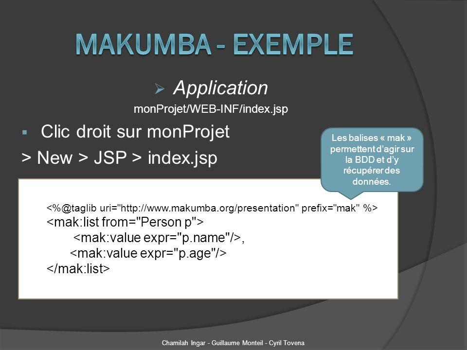 Application monProjet/WEB-INF/index.jsp Clic droit sur monProjet > New > JSP > index.jsp Chamilah Ingar - Guillaume Monteil - Cyril Tovena, Les balise