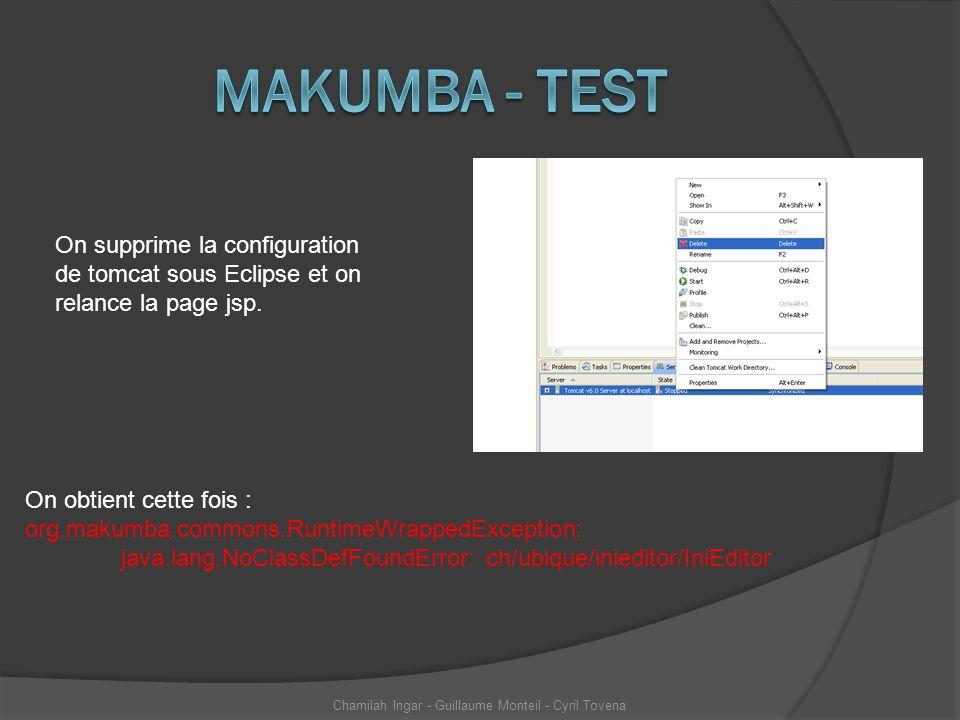 On supprime la configuration de tomcat sous Eclipse et on relance la page jsp. On obtient cette fois : org.makumba.commons.RuntimeWrappedException: ja
