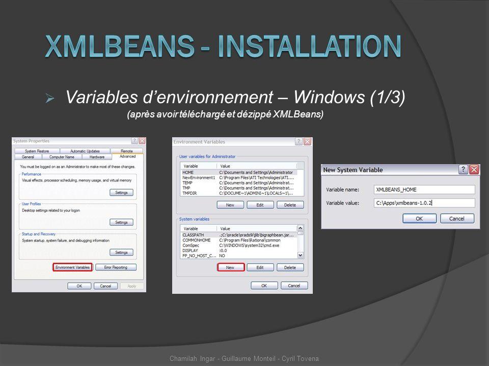 Variables denvironnement – Windows (1/3) (après avoir téléchargé et dézippé XMLBeans) Chamilah Ingar - Guillaume Monteil - Cyril Tovena