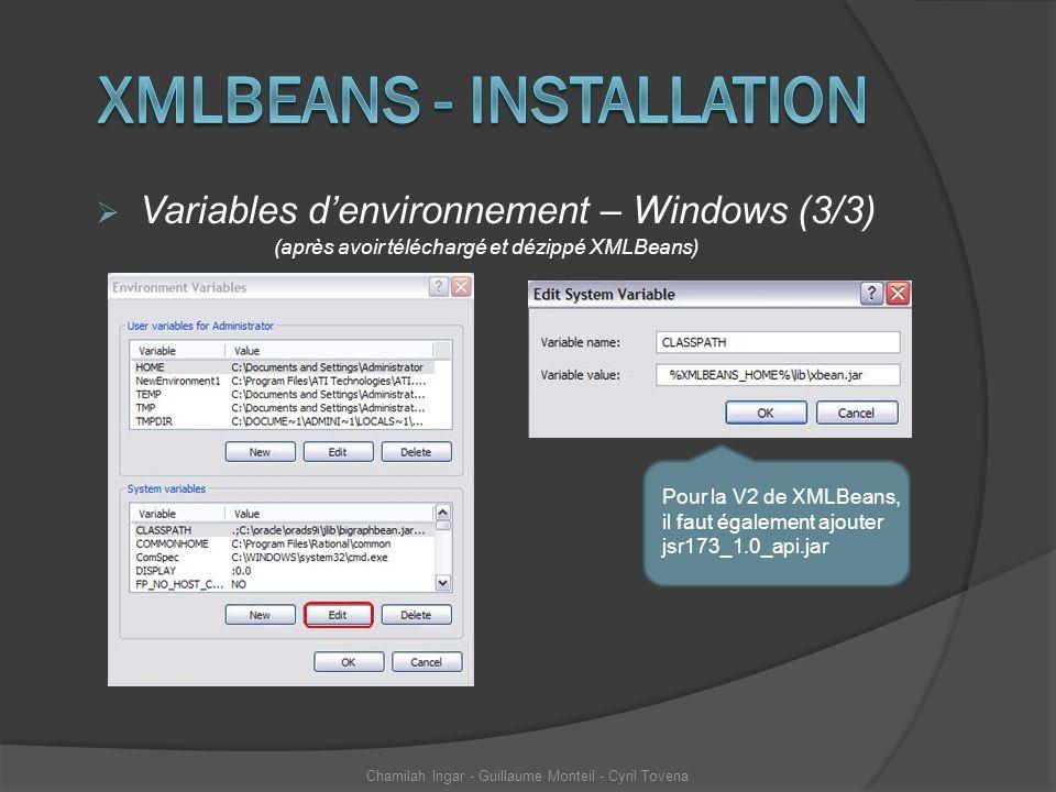 Variables denvironnement – Windows (3/3) (après avoir téléchargé et dézippé XMLBeans) Chamilah Ingar - Guillaume Monteil - Cyril Tovena Pour la V2 de