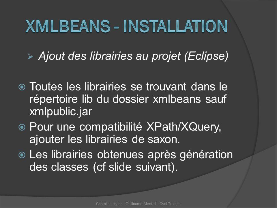 Ajout des librairies au projet (Eclipse) Toutes les librairies se trouvant dans le répertoire lib du dossier xmlbeans sauf xmlpublic.jar Pour une comp