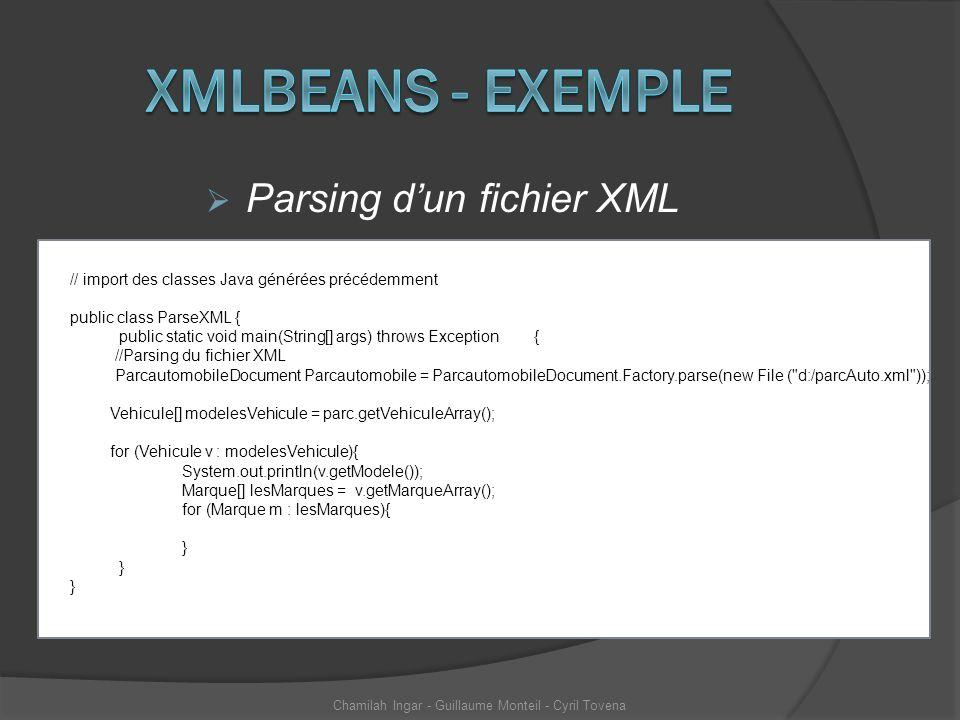 Parsing dun fichier XML Chamilah Ingar - Guillaume Monteil - Cyril Tovena // import des classes Java générées précédemment public class ParseXML { pub