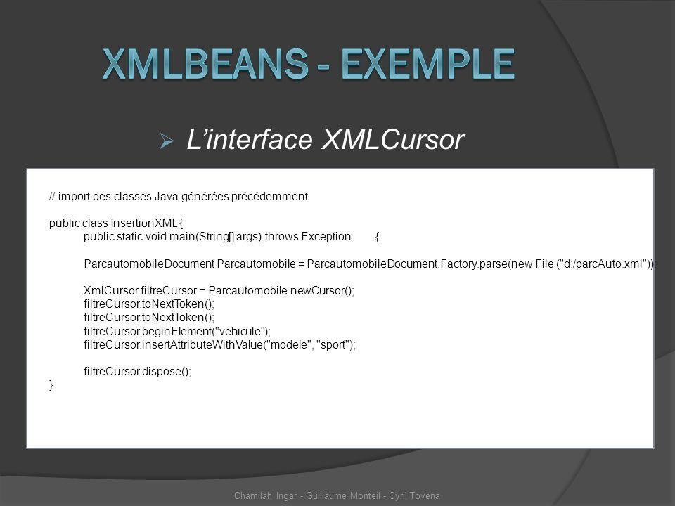 Linterface XMLCursor Chamilah Ingar - Guillaume Monteil - Cyril Tovena // import des classes Java générées précédemment public class InsertionXML { pu