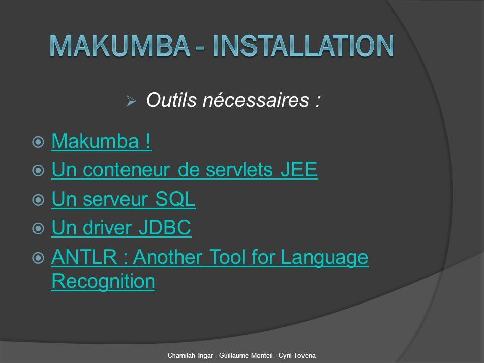Outils nécessaires : Makumba ! Un conteneur de servlets JEE Un serveur SQL Un driver JDBC ANTLR : Another Tool for Language Recognition ANTLR : Anothe