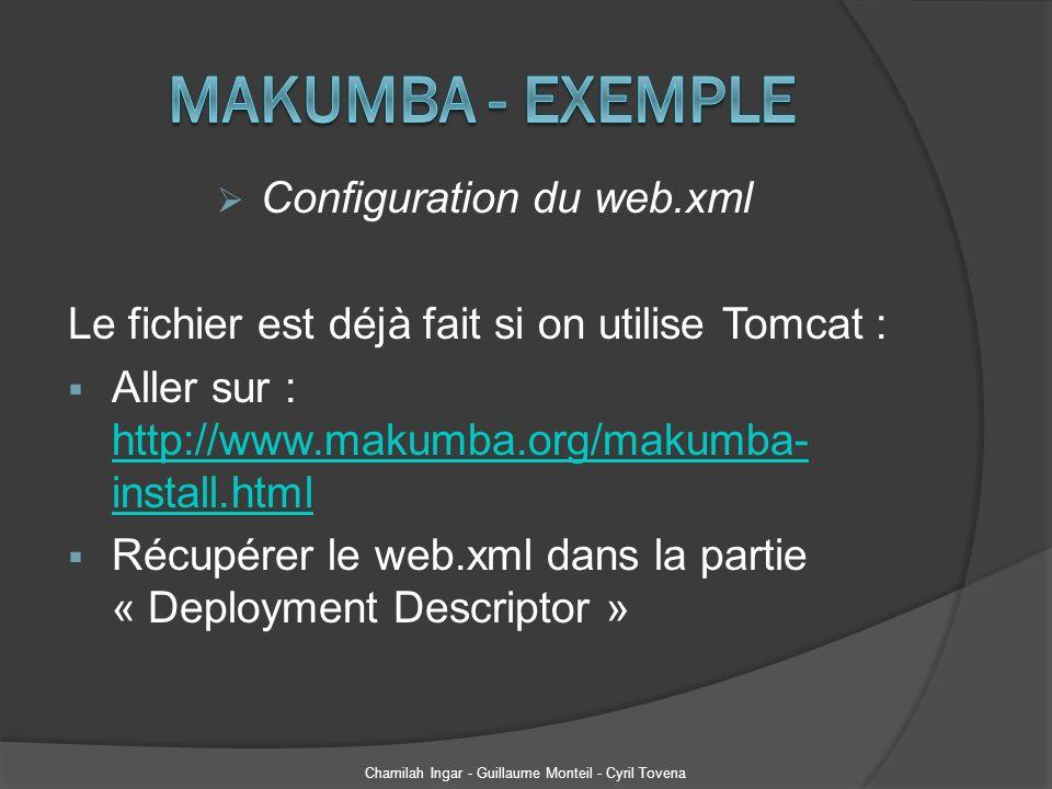 Génération des classes : 1 ère méthode Elle se fait à partir dun schéma XSD Création dune tâche ANT (build.xml) : Chamilah Ingar - Guillaume Monteil - Cyril Tovena <xmlbean schema= ${schema} srcgendir= src destfile= ${dest.jar} classpathref= xmlbeans.path /> Larchive mesSchemas.jar est à placer dans le build path du projet.