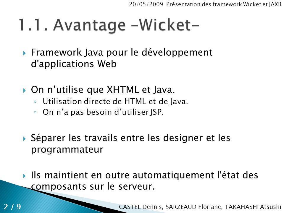 CASTEL Dennis, SARZEAUD Floriane, TAKAHASHI Atsushi 20/05/2009 Présentation des framework Wicket et JAXB Framework Java pour le développement d applications Web On nutilise que XHTML et Java.