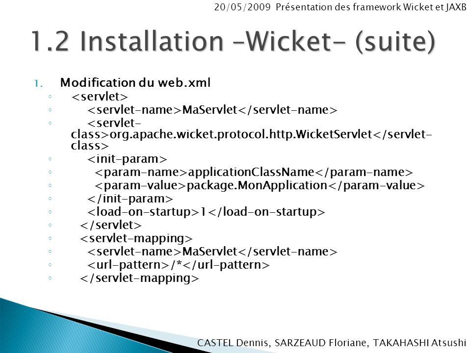 CASTEL Dennis, SARZEAUD Floriane, TAKAHASHI Atsushi 20/05/2009 Présentation des framework Wicket et JAXB 1.2 Installation –Wicket- (suite) 1.