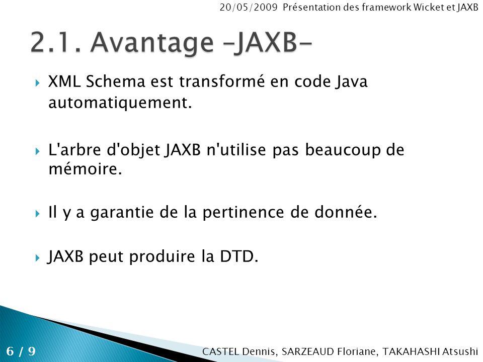 CASTEL Dennis, SARZEAUD Floriane, TAKAHASHI Atsushi 20/05/2009 Présentation des framework Wicket et JAXB Télécharger JAXB depuis https://jaxb.dev.java.net/ https://jaxb.dev.java.net/ Placer le jar de JAXB dans le lib de WEB-INF A la racine du projet on crée un build.xml On crée un XML Schema Ant utilise build.xml pour générer les classes de bases 7 / 9 2.2.
