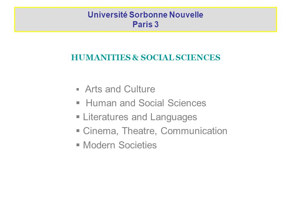 FACTS ABOUT SORBONNE NOUVELLE 17 102 students enrolled for academic year 2006/07 among which 5 137 international students 373 high-school equivalence (DAEU) 10 413 undergraduates (Licence) 4 666 graduate (Master) 1 650 doctoral (Doctorat)