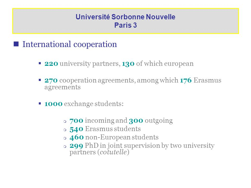 International cooperation 220 university partners, 130 of which european 270 cooperation agreements, among which 176 Erasmus agreements 1000 exchange