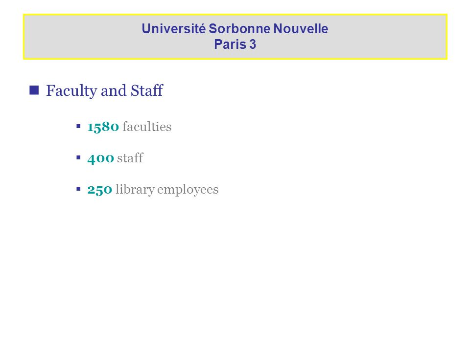 Faculty and Staff 1580 faculties 400 staff 250 library employees Université Sorbonne Nouvelle Paris 3
