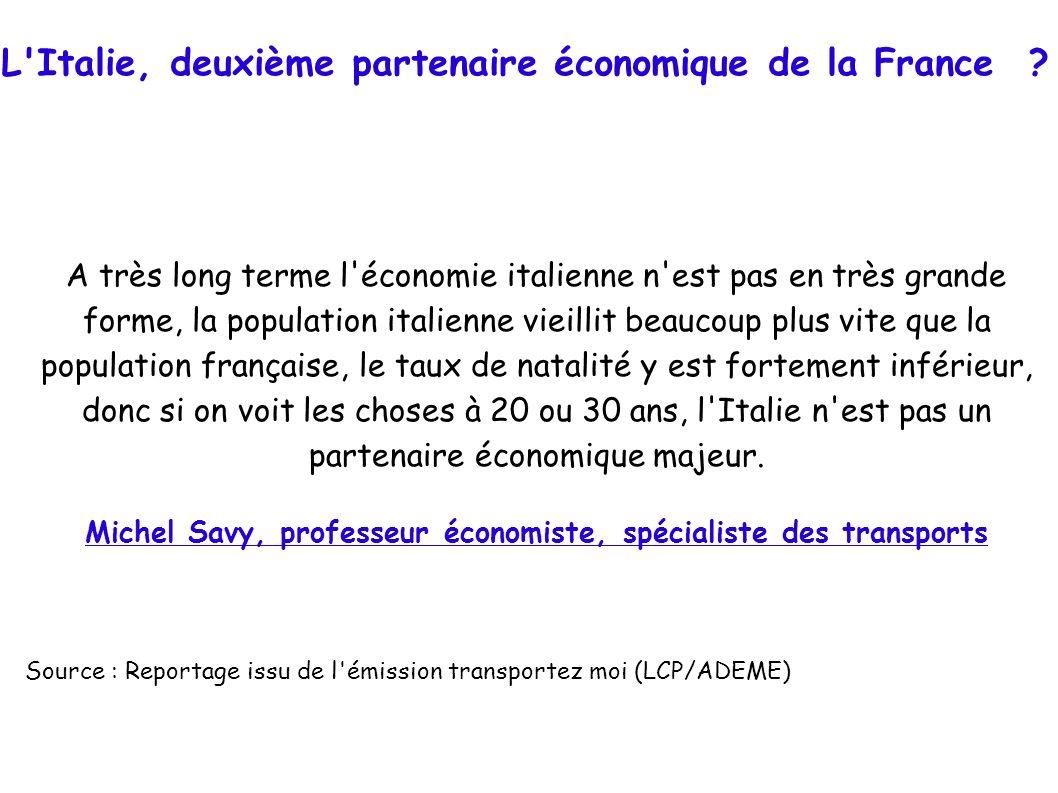 L'Italie, deuxième partenaire économique de la France ? A très long terme l'économie italienne n'est pas en très grande forme, la population italienne