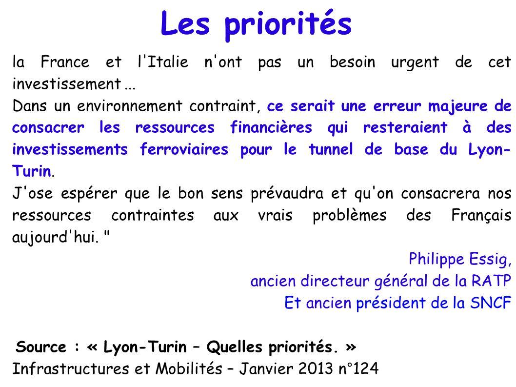 Les priorités la France et l'Italie n'ont pas un besoin urgent de cet investissement... Dans un environnement contraint, ce serait une erreur majeure