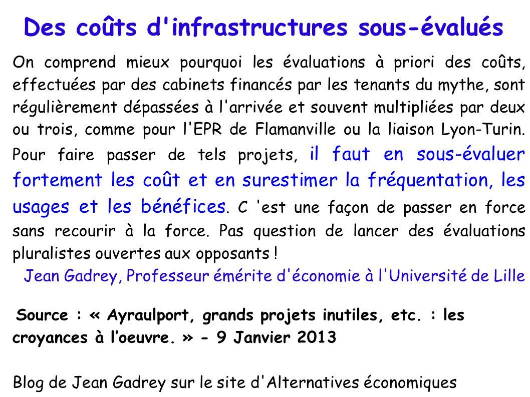 Des coûts d'infrastructures sous-évalués On comprend mieux pourquoi les évaluations à priori des coûts, effectuées par des cabinets financés par les t