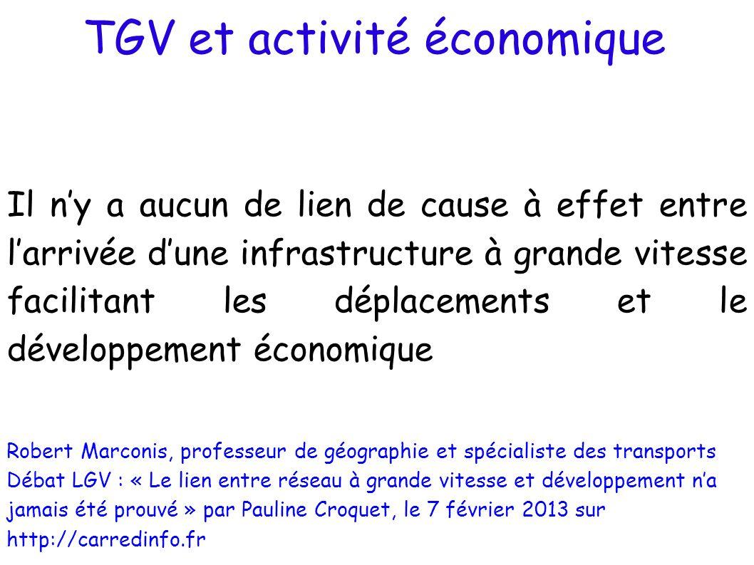 TGV et activité économique Il ny a aucun de lien de cause à effet entre larrivée dune infrastructure à grande vitesse facilitant les déplacements et l