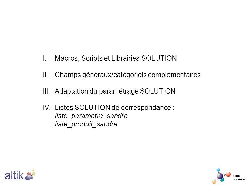 I.Macros, Scripts et Librairies SOLUTION II.Champs généraux/catégoriels complémentaires III.Adaptation du paramétrage SOLUTION IV.Listes SOLUTION de c