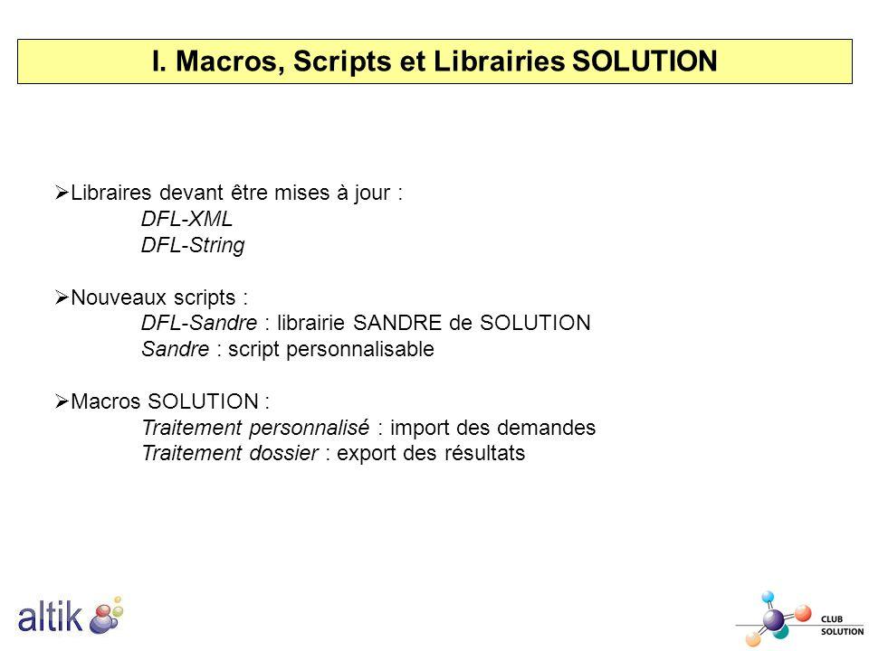 I. Macros, Scripts et Librairies SOLUTION Libraires devant être mises à jour : DFL-XML DFL-String Nouveaux scripts : DFL-Sandre : librairie SANDRE de