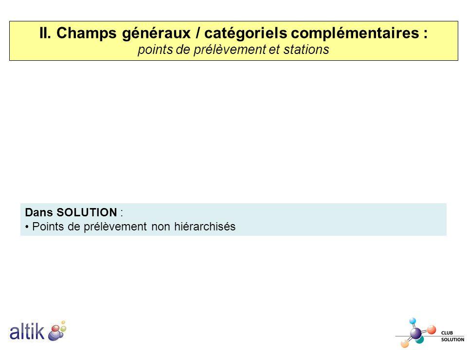 II. Champs généraux / catégoriels complémentaires : points de prélèvement et stations Dans SOLUTION : Points de prélèvement non hiérarchisés