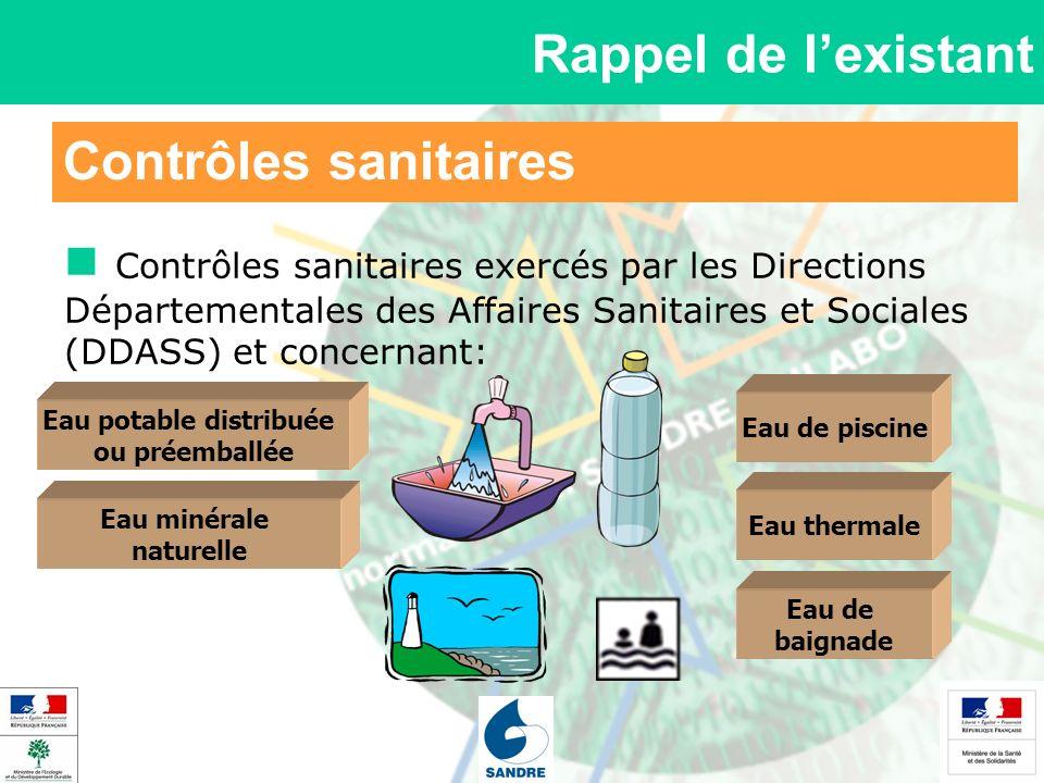 Contrôles sanitaires Rappel de lexistant Contrôles sanitaires exercés par les Directions Départementales des Affaires Sanitaires et Sociales (DDASS) e