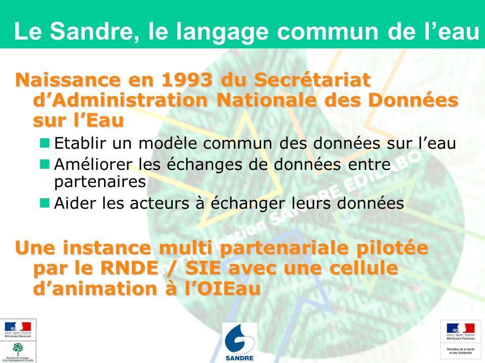 Le Sandre, le langage commun de leau Naissance en 1993 du Secrétariat dAdministration Nationale des Données sur lEau Etablir un modèle commun des données sur leau Améliorer les échanges de données entre partenaires Aider les acteurs à échanger leurs données Une instance multi partenariale pilotée par le RNDE / SIE avec une cellule danimation à lOIEau