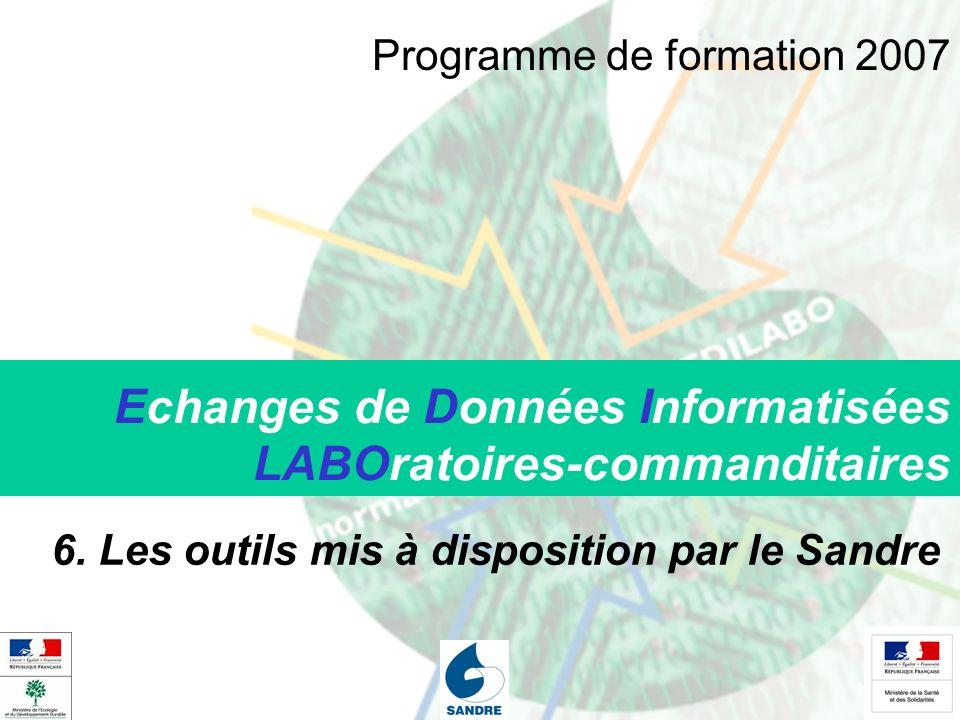Echanges de Données Informatisées LABOratoires-commanditaires 6. Les outils mis à disposition par le Sandre Programme de formation 2007