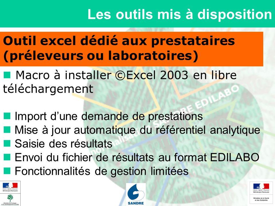 Les outils mis à disposition Outil excel dédié aux prestataires (préleveurs ou laboratoires) Macro à installer ©Excel 2003 en libre téléchargement Imp