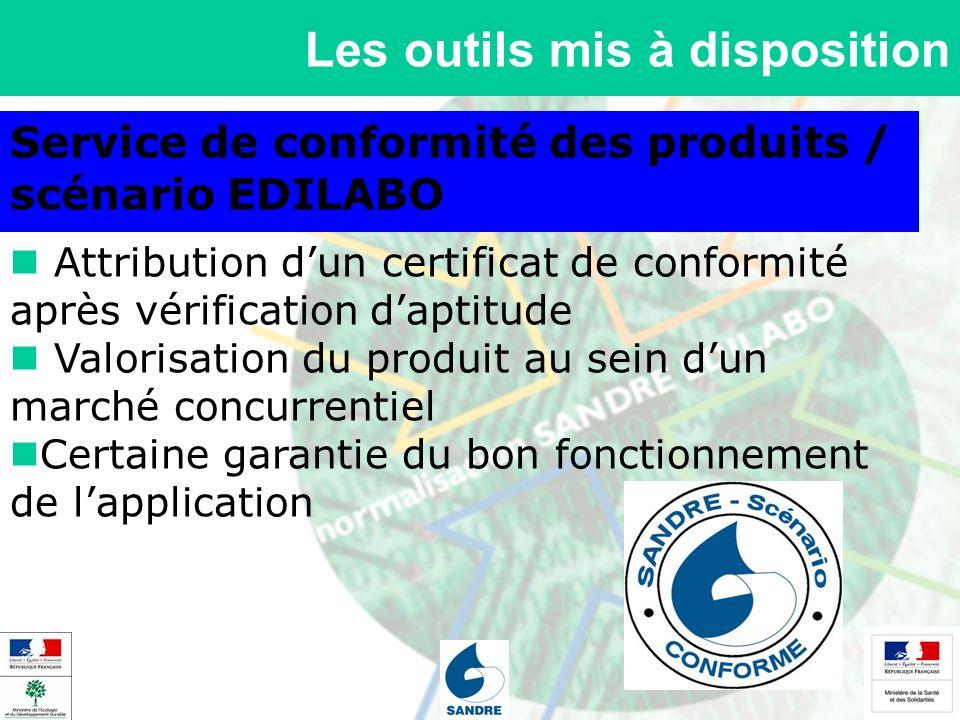 Les outils mis à disposition Service de conformité des produits / scénario EDILABO Attribution dun certificat de conformité après vérification daptitu