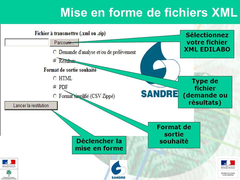 Mise en forme de fichiers XML Sélectionnez votre fichier XML EDILABO Type de fichier (demande ou résultats) Déclencher la mise en forme Format de sort