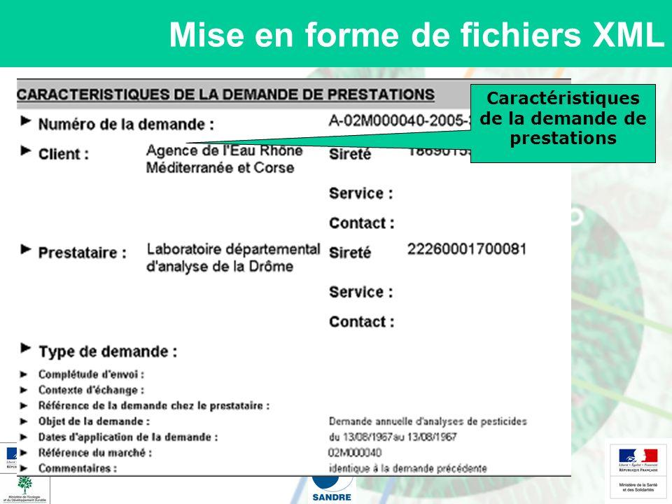 Mise en forme de fichiers XML Caractéristiques des stations de prélèvement Tableau récapitulatif des prélèvements réalisés