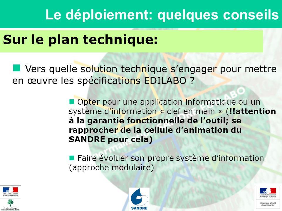 Le déploiement: quelques conseils Sur le plan technique: Vers quelle solution technique sengager pour mettre en œuvre les spécifications EDILABO .