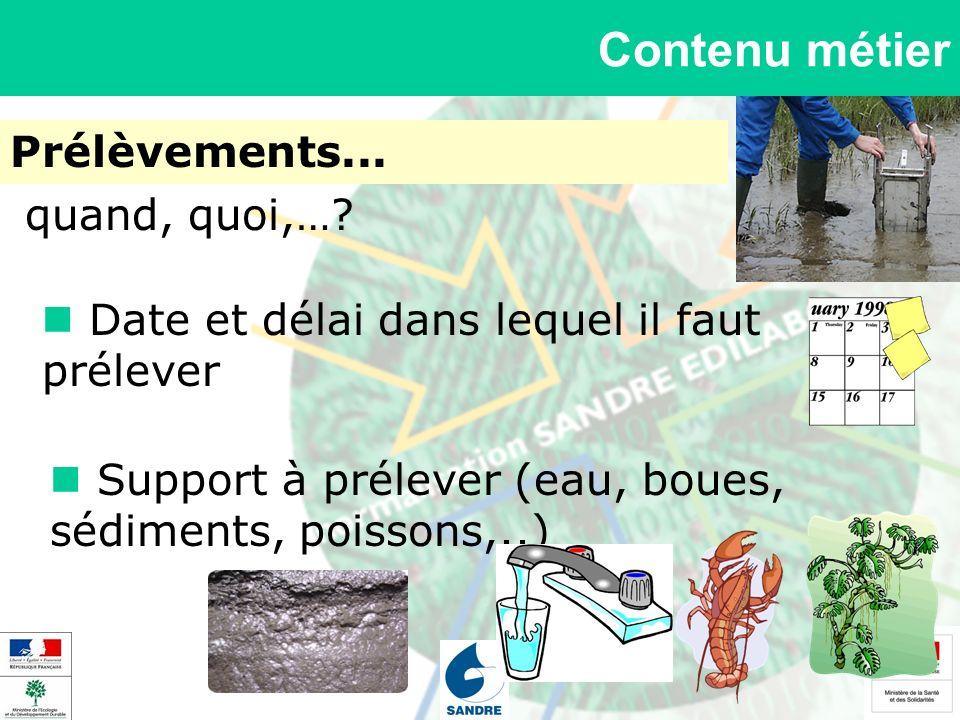 Contenu métier Prélèvements... Support à prélever (eau, boues, sédiments, poissons,..) quand, quoi,…? Date et délai dans lequel il faut prélever
