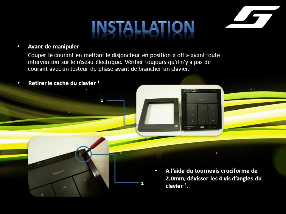 Avant de manipuler Couper le courant en mettant le disjoncteur en position « off » avant toute intervention sur le réseau électrique. Vérifier toujour