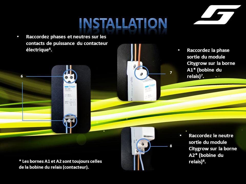 Raccordez phases et neutres sur les contacts de puissance du contacteur électrique 6. * Les bornes A1 et A2 sont toujours celles de la bobine du relai