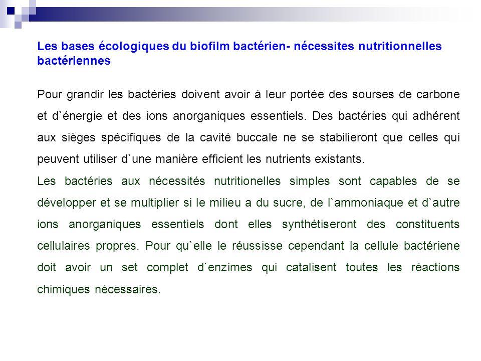 Les bases écologiques du biofilm bactérien- nécessites nutritionnelles bactériennes Pour grandir les bactéries doivent avoir à leur portée des sourses