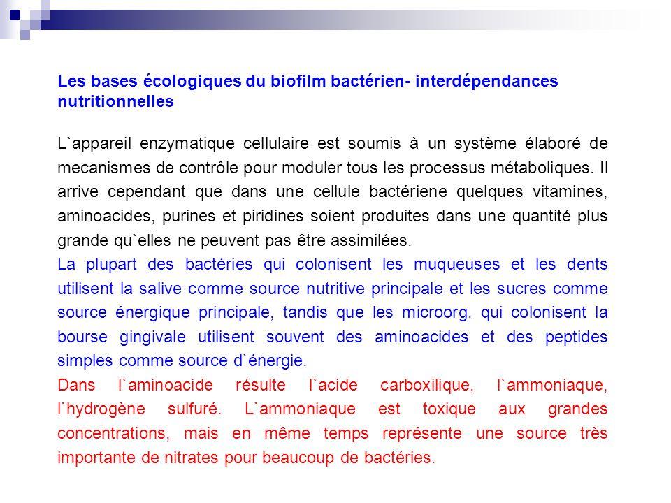 Les bases écologiques du biofilm bactérien- interdépendances nutritionnelles L`appareil enzymatique cellulaire est soumis à un système élaboré de meca
