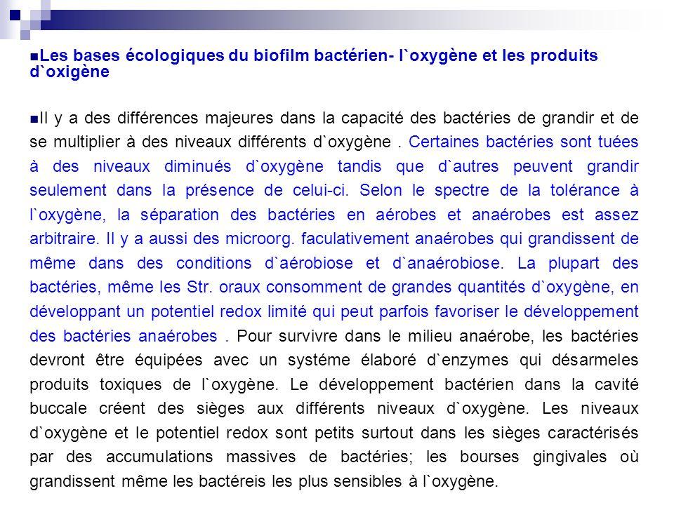 Les bases écologiques du biofilm bactérien- l`oxygène et les produits d`oxigène Il y a des différences majeures dans la capacité des bactéries de gran