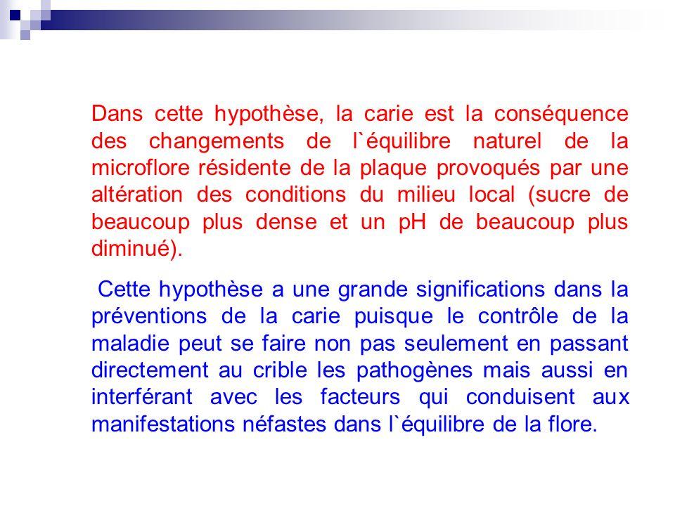 Dans cette hypothèse, la carie est la conséquence des changements de l`équilibre naturel de la microflore résidente de la plaque provoqués par une alt