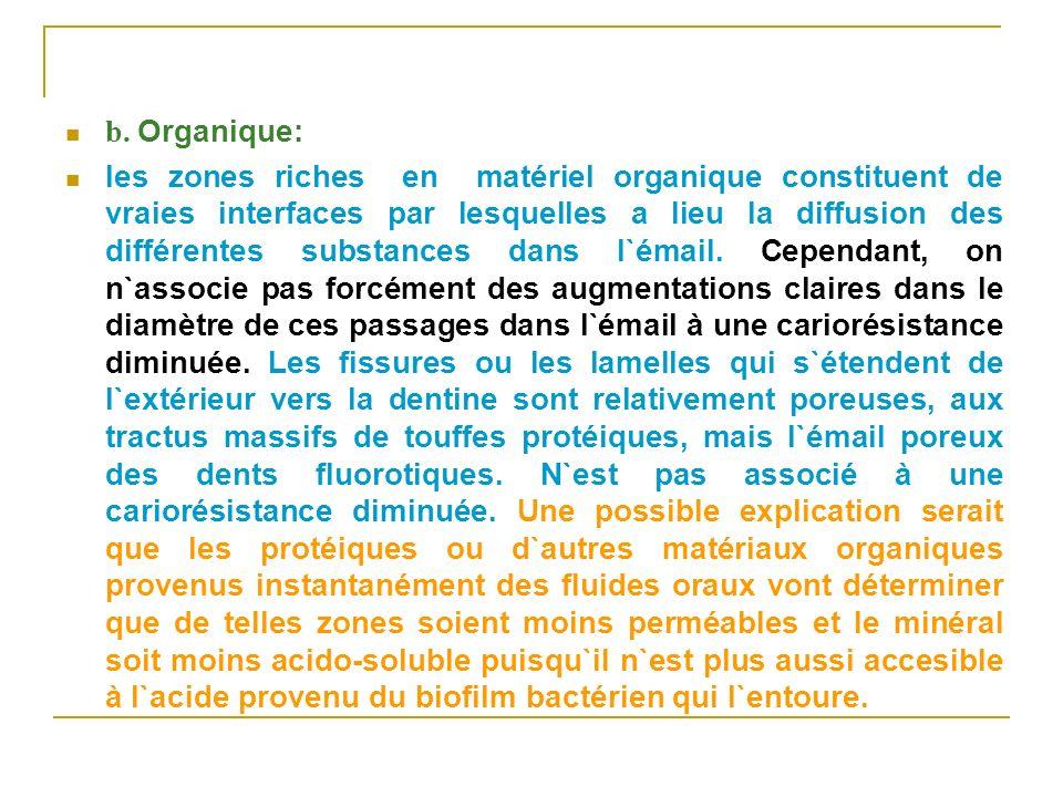 b. Organique: les zones riches en matériel organique constituent de vraies interfaces par lesquelles a lieu la diffusion des différentes substances da